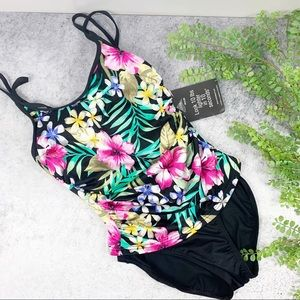 Miraclesuit Fauxkini Black Floral One Piece Swim